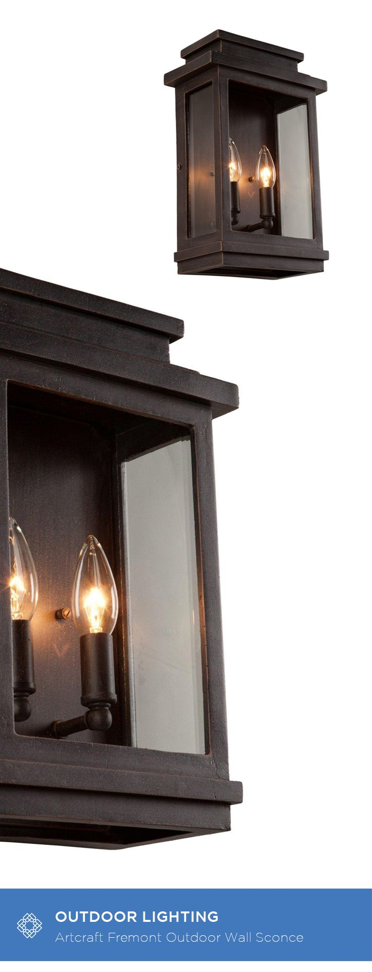 best  outdoor sconces ideas on pinterest  exterior light  - artcraft fremont oil rubbed bronze twolight inch high outdoor wallsconce