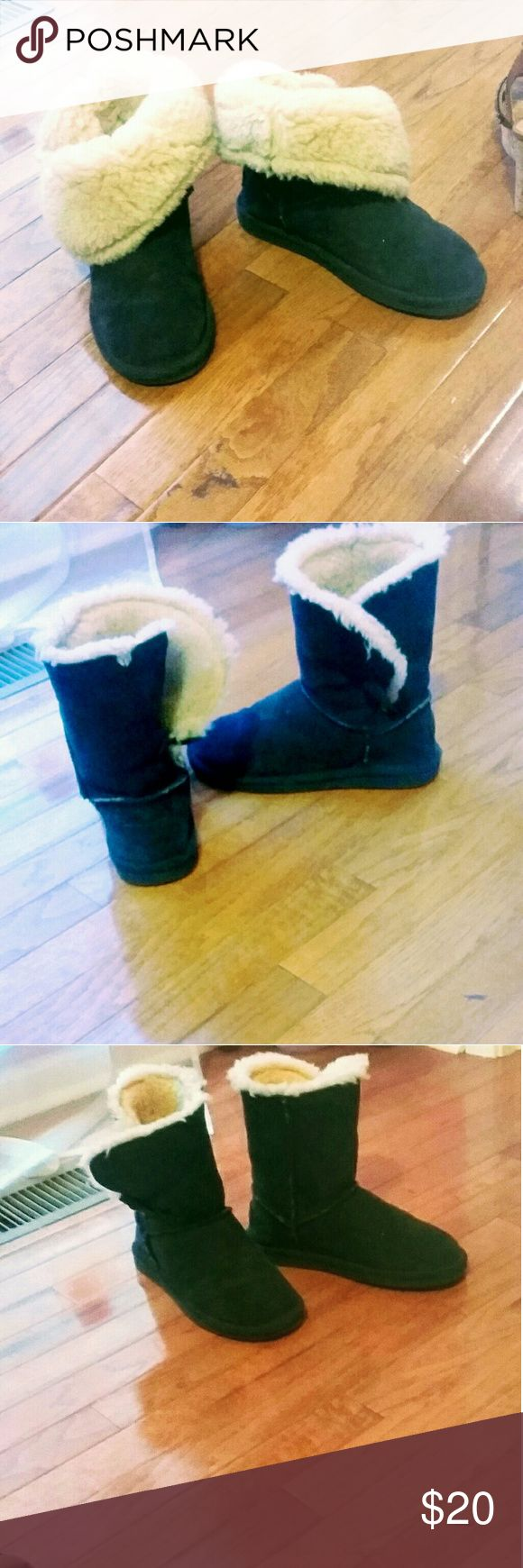 Bjorndal brand navy ankle boots These are a very dark almost black navy and in good condition. They can be worn folded down with the fur showing or regular like ugg boots. bjorndall Shoes Winter & Rain Boots