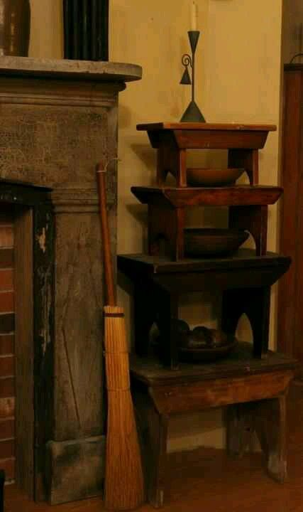 (̏◕◊◕)̋ what a cool collection of little step stools in that corner!