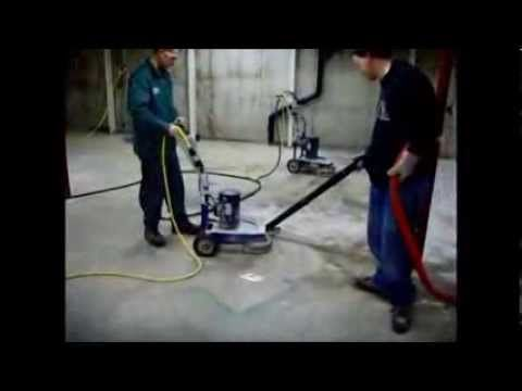How to remove paint glue mastic with a concrete grinder - www.SealGreen.com - 800-997-3873 - YouTube