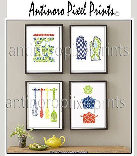 """Wall Art Multi Color Damask Kitchen Tools Coral Green Blue Yellow Art Collection -Set of (4) 8x10 - Wall Art Prints (Unframed). Wall Art Greens Yellow Kitchen Utensils Mixer Cups Art Prints - Set of (4) 8x10 Wall Art Prints - Custom Colors Sizes Available (UNFRAMED). This is an archival print of Wanda Antinoro """"Green Yellow Kitchen"""" white background. It is printed on archival paper which holds the colors brilliantly with Giclee ink. Available as 8"""" x 10"""". All prints are shipped in a..."""
