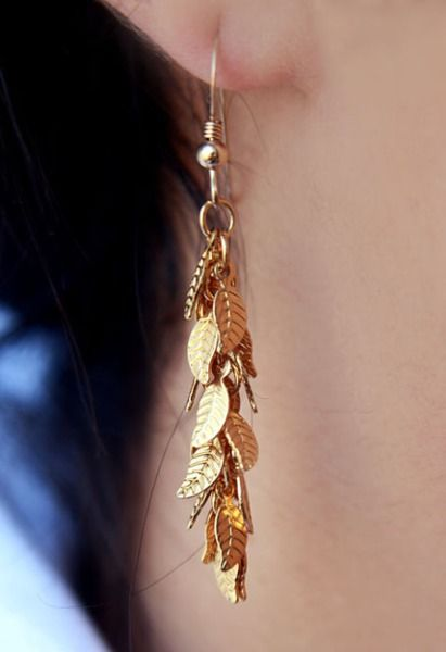 Gold Plated Earrings – Leaf earrings – a unique product by miki35 on DaWanda