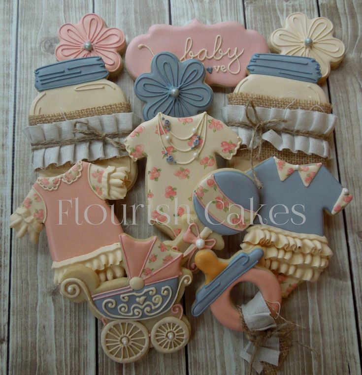 Baby Shower Cookies~                     by FlourishCakes, pink, blue, ivory, shabby chic, mason jar, Onesie, carriage, pacifier