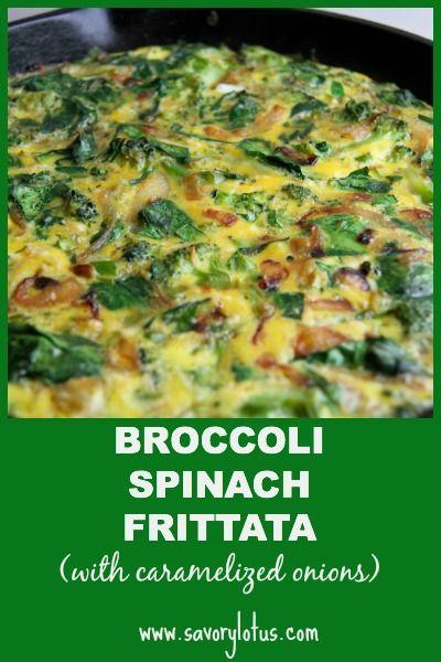 Broccoli Spinach Frittata with Caramelized Onions | savorylotus.com