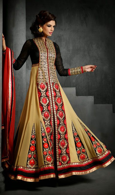 Black and Cream Embroidered Georgette Long Anarkali Suit
