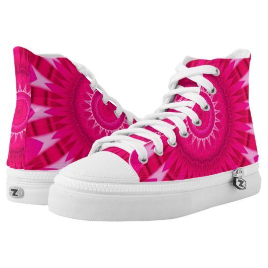 Pink Mandala Zipz High Top Shoes by www.zazzle.com/htgraphicdesigner* #zazzle #gift #giftidea #shoes #mandala #kaleidoscope #abstract #summer #pink
