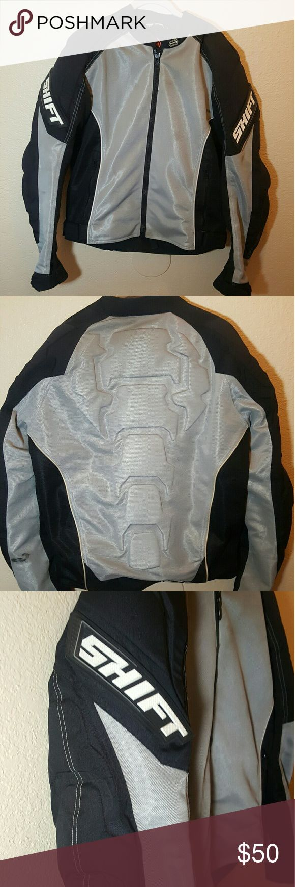 SHIFT Padded Motorcycle Riding Jacket ? Large SHIFT Padded Motorcycle riding jacket. Heavy duty protection. Great condition - does have a black mark on the lower back left sleeve, see 2nd picture. Shift Jackets & Coats