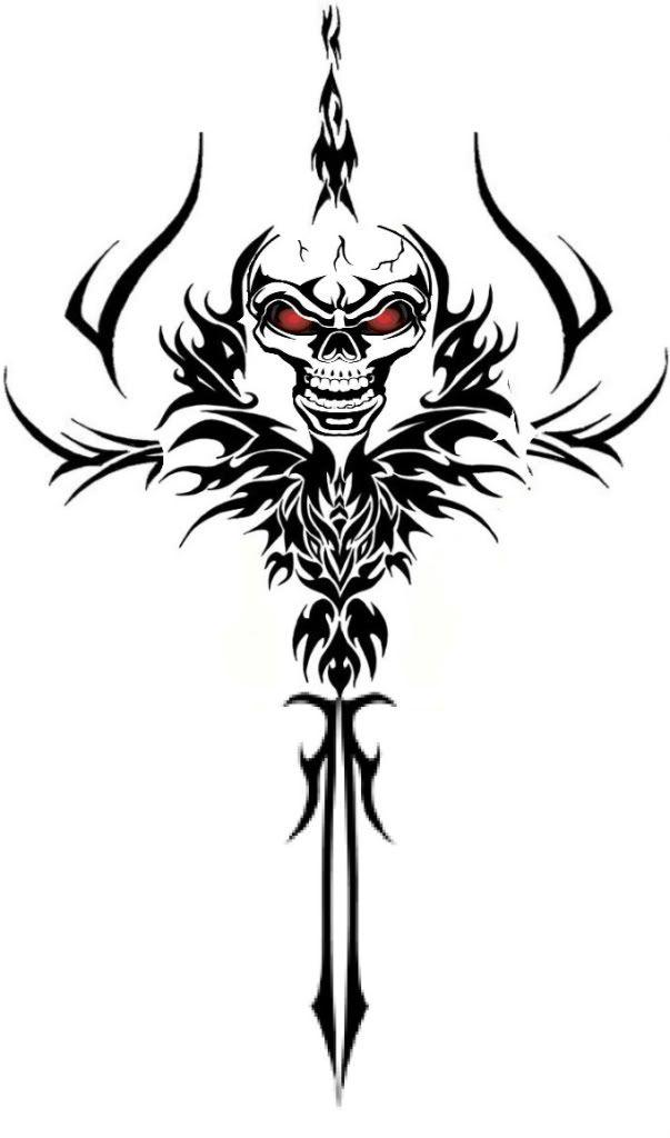 Tribal Skull Dagger Tattoo Design Tribal Skull Skulls Drawing Skull Tattoos