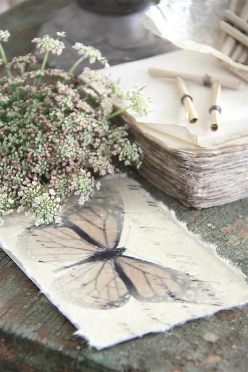 handmade paper, butterflies and Queen Anne's Lace