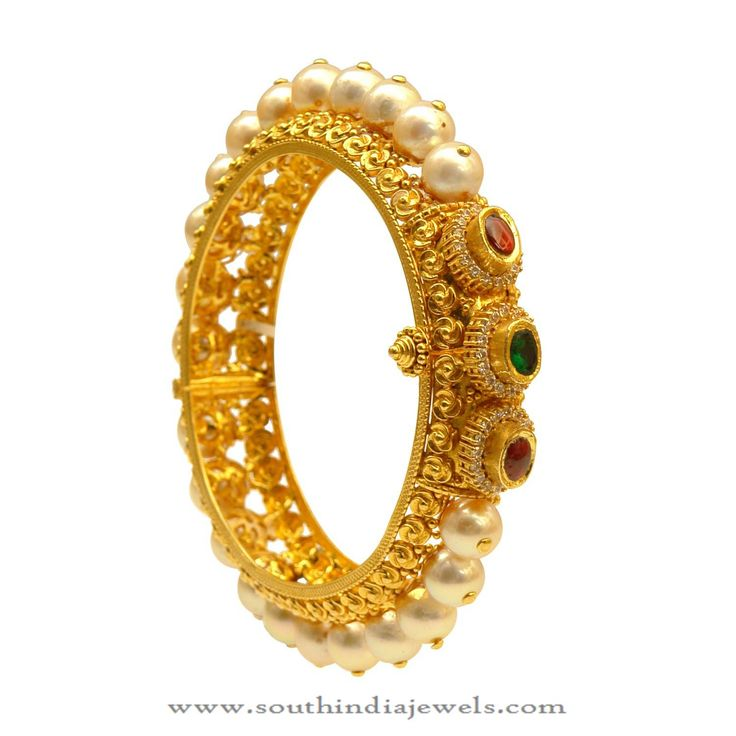 Gold Pearl Bangle Designs, Gold Bangle with Pearls.