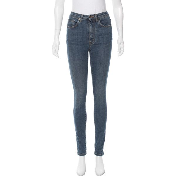 Pre-owned Saint Laurent High-Rise Skinny Jeans ($245) ❤ liked on Polyvore featuring jeans, blue, skinny jeans, high rise jeans, light wash skinny jeans, high waisted skinny jeans and blue jeans