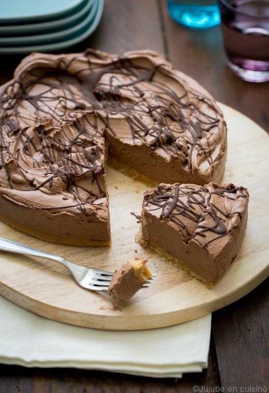 Cheesecake au chocolat noir très crémeux (sans cuisson)   Jujube en cuisine