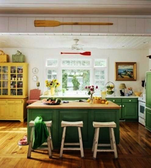 kitchen decorating with yellow and green colors