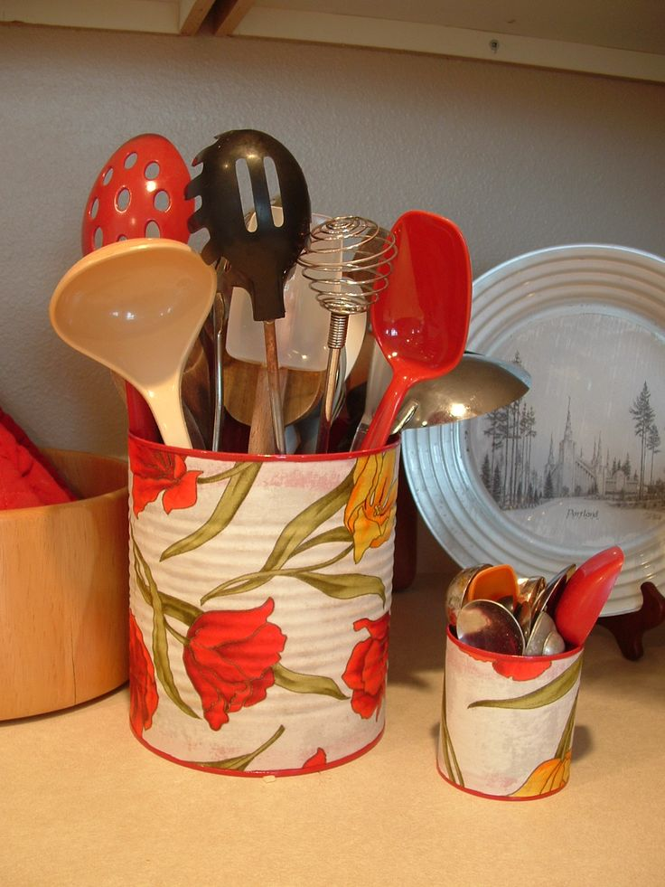 Helping Little Hands: Fabric Covered Cans - More Red for My Kitchen