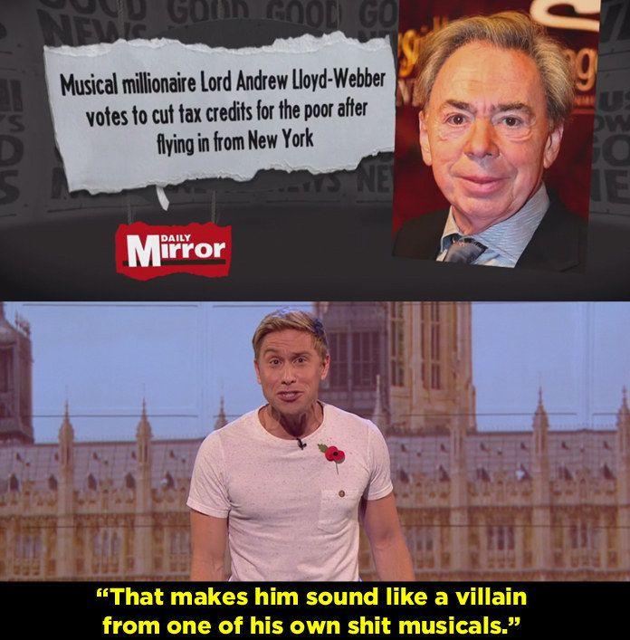 When Andrew Lloyd Webber did this after the House of Lords was debating tax credits.