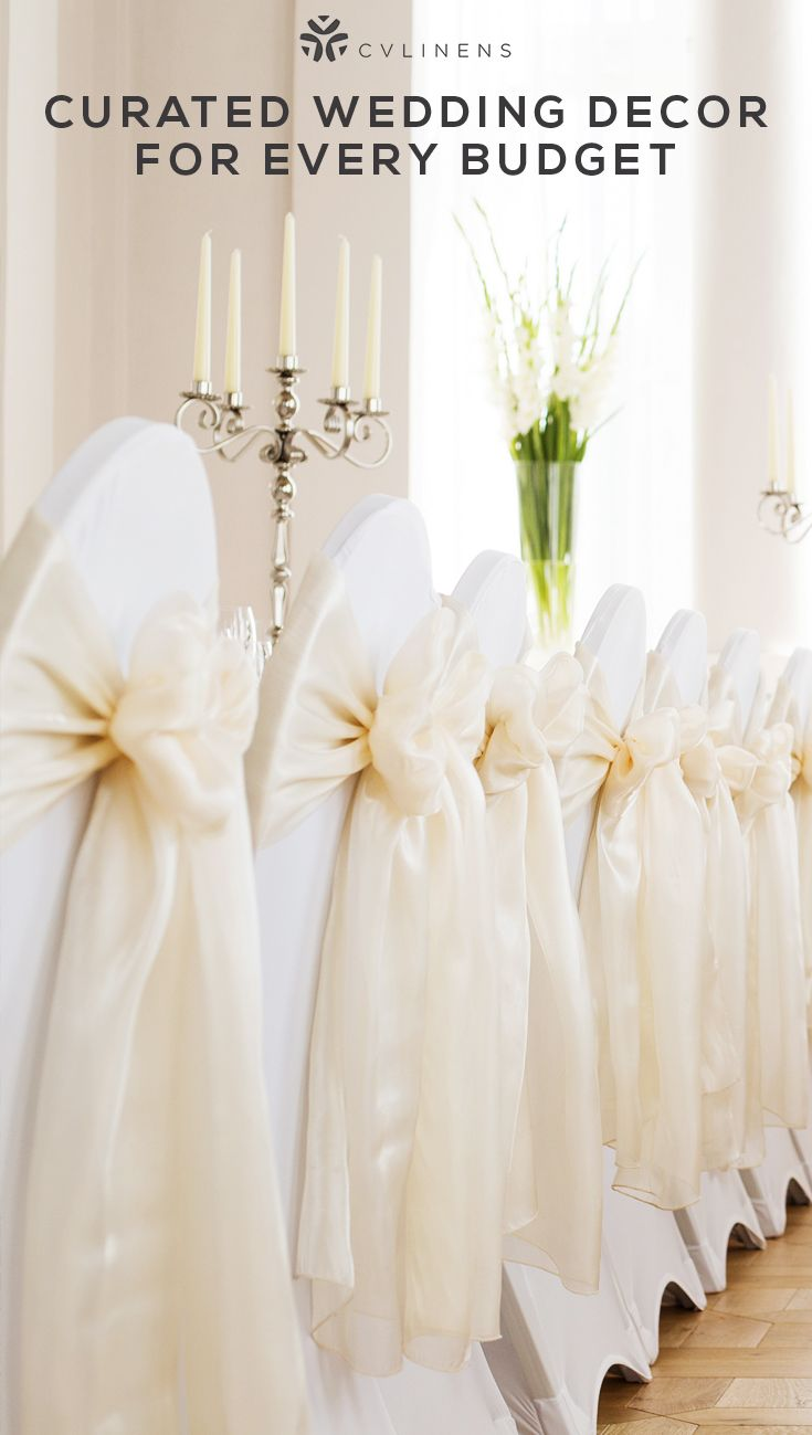 Traditional Champagne And White Wedding Chair Set Up With Sashes And Chair Cov Bridal Party Table Decorations Wedding Reception Chairs Champagne Wedding Themes