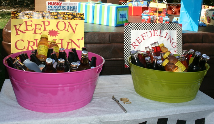"""Refueling station complete with different flavor crush sodas in bottles because monster trucks """"crush"""" everything"""