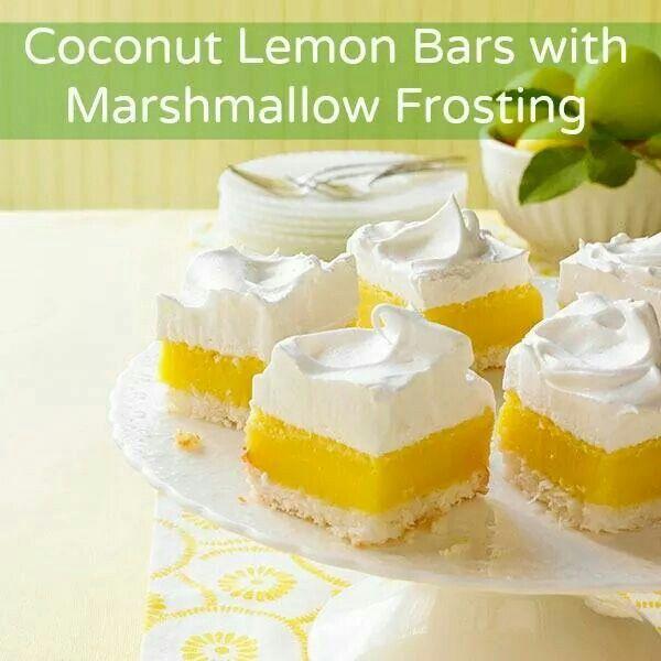 Lemon, Coconut, marshmallow bars | food | Pinterest