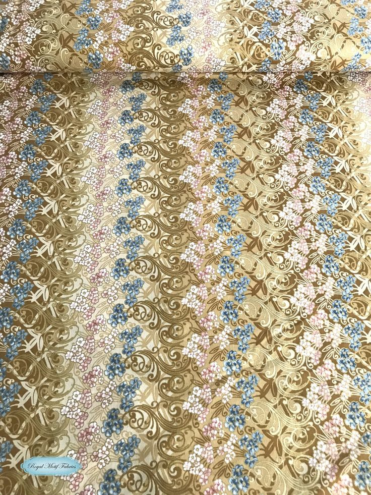 Hoffman fabrics fairy briar metallic creamgold royal