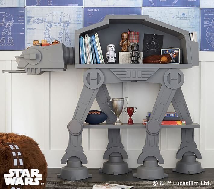Star Wars AT-AT Bookshelf Cuts An Imperial Colossus Down To Size  #atat #books #decor #starwars As many of these fine nerdy treasures do, the Star Wars AT-AT Bookshelf from Pottery Barn Kids got us thinking.  Imagine civil war across a galaxy f...