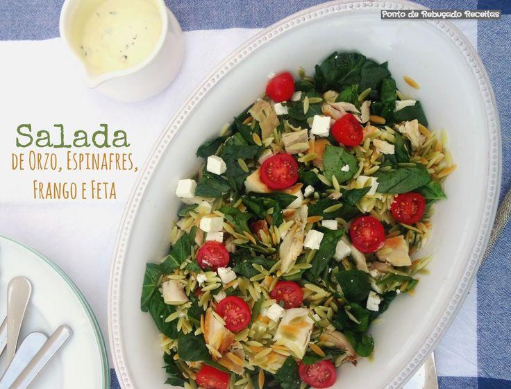Ponto de Rebuçado Receitas: Salada de orzo de frango, espinafres e feta ( com molho de iogurte e maionese)