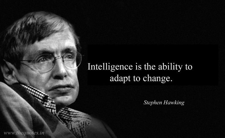 Intelligence is the ability to adapt to change – Stephen Hawking
