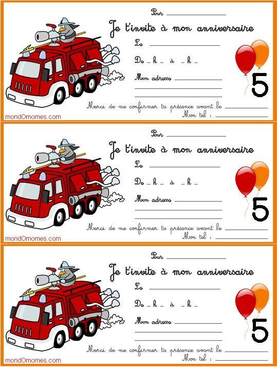 cartes Anniversaire enfant 5 ans pompier