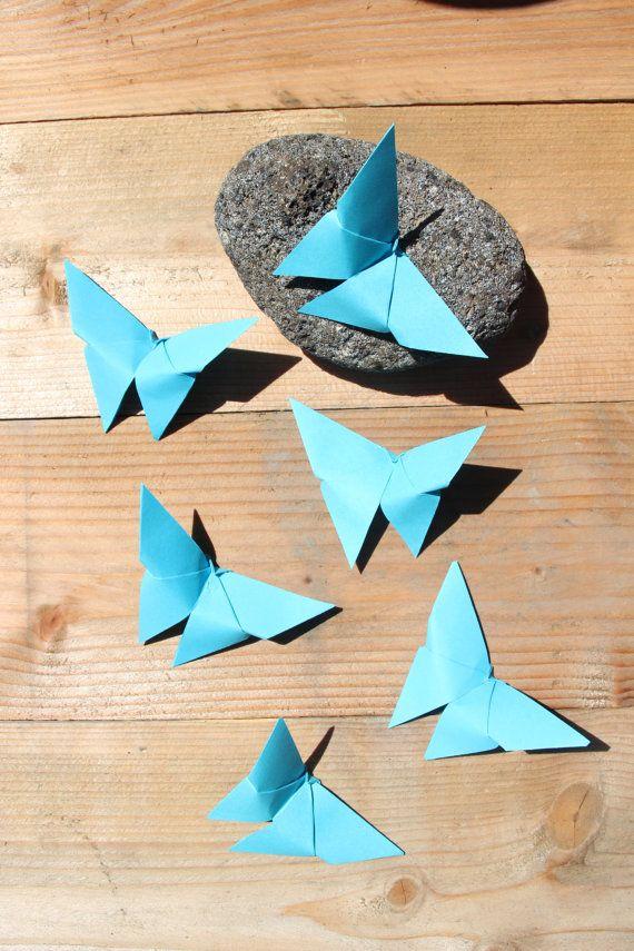120 papillons Origami Bleu Turquoise Mariage lot par LaureDaintyArt