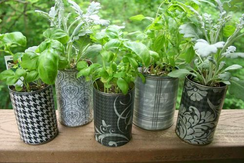 DIY container garden with recycled cans  patterned papers. (see link for more)
