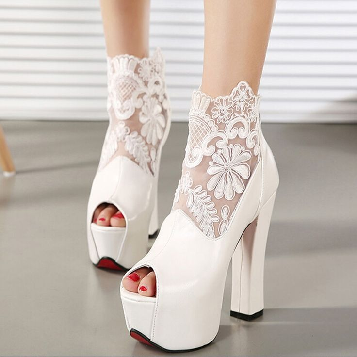 (58.58$)  Know more - http://ai05u.worlditems.win/all/product.php?id=32742527879 - Lace Womens Winter Boots 2015 Luxury Sexy Chunky Metallic Slim Heel Cutout Best Seller Club Fish Mouth Mesh Flowers Platform