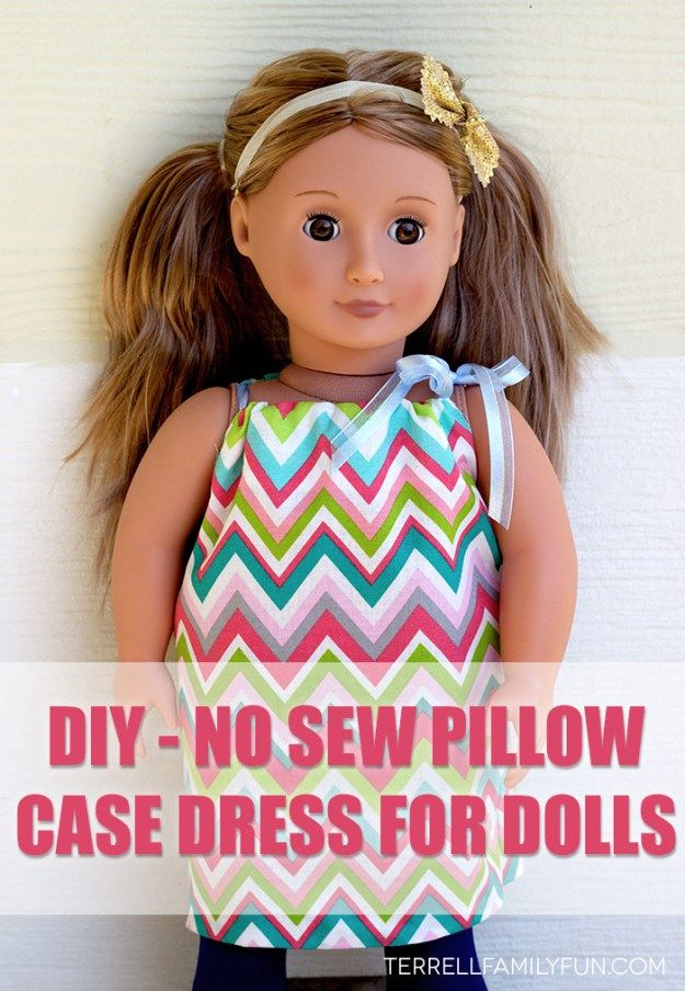 "how to make a pillow case dress for an 18"" doll, no sew american girl clothes, no sew american girl dress"