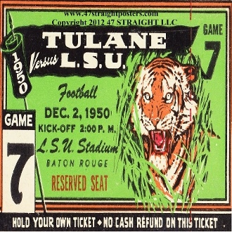 LSU drink coasters made from an authentic 1950 LSU football ticket. http://www.shop.47straightposters.com/1950-LSU-football-tickets-Drink-Coasters-50-LSUTU.htm
