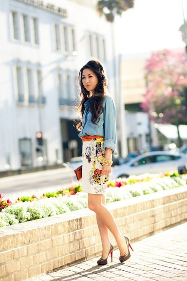 Blossom :: Floral print :: Wendy's Lookbook #chambray #floral