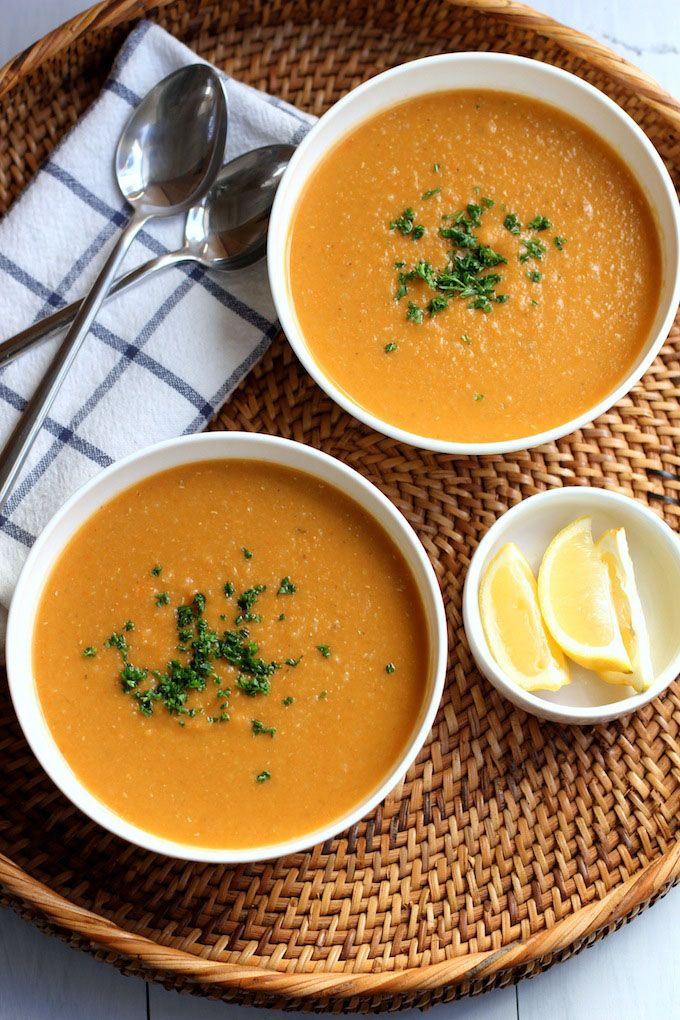 Red Lentil and Carrot Soup with Lemon. A warm, soothing, healthy soup with a bright lemony kick.
