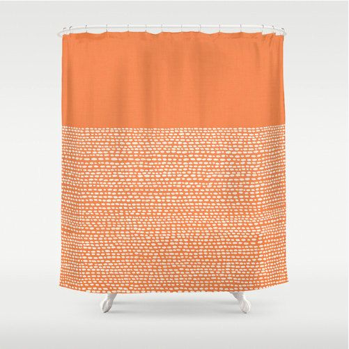 Minimalist shower curtain in celosia orange, pantone color of 2014, modern bathroom decor, bath decor in citrus orange, color blocked dots on Etsy, $65.00