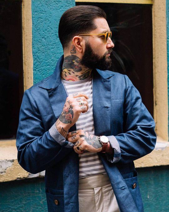 Tailored Workwear.. @jacob.medina  Jacket: @lanefortyfive TShirt: @muji Pants: @oscarhunttailors Sunglasses: @oblyksunglasses Watch: @triwa_aus