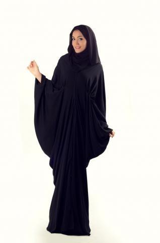 Khaleej Abaya  Basic black gets an upgrade with this stylish Dubai abaya. Tucks, ruching, and layering all work together to give this incredible abaya its stylish shape.