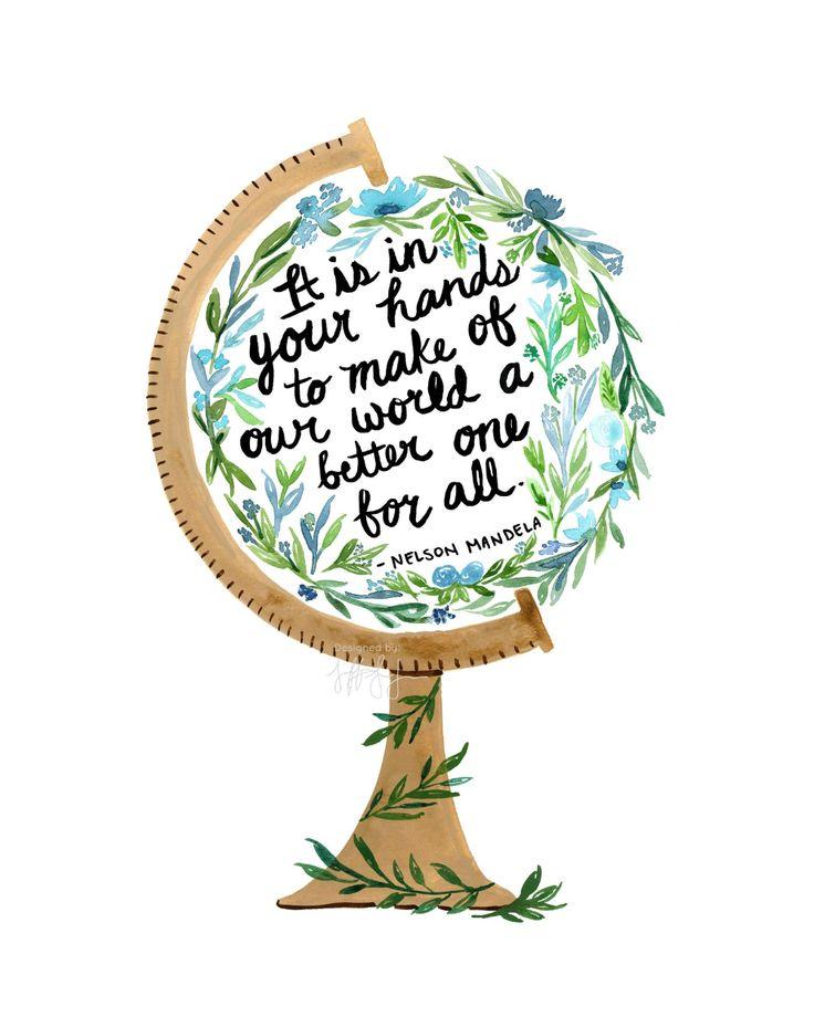 Nelson Mandela Zitat Druck, Aquarell-Kugel-Kunstdruck, inspirierende Wandkunst, soziale Gerechtigkeit Druck, Aquarell Blumen Zitat Kunst – Focus F*CkiN Human!