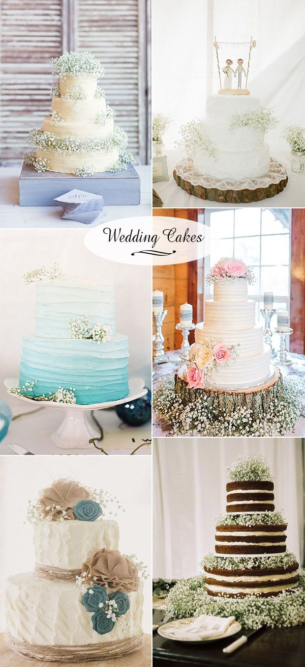 glamourous baby's breath wedding flower inspired wedding cakes