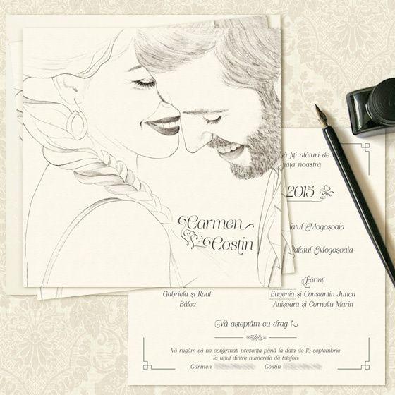 Invitatii nunta personalizate cu portretul desenat al mirilor - yorkdeco.ro