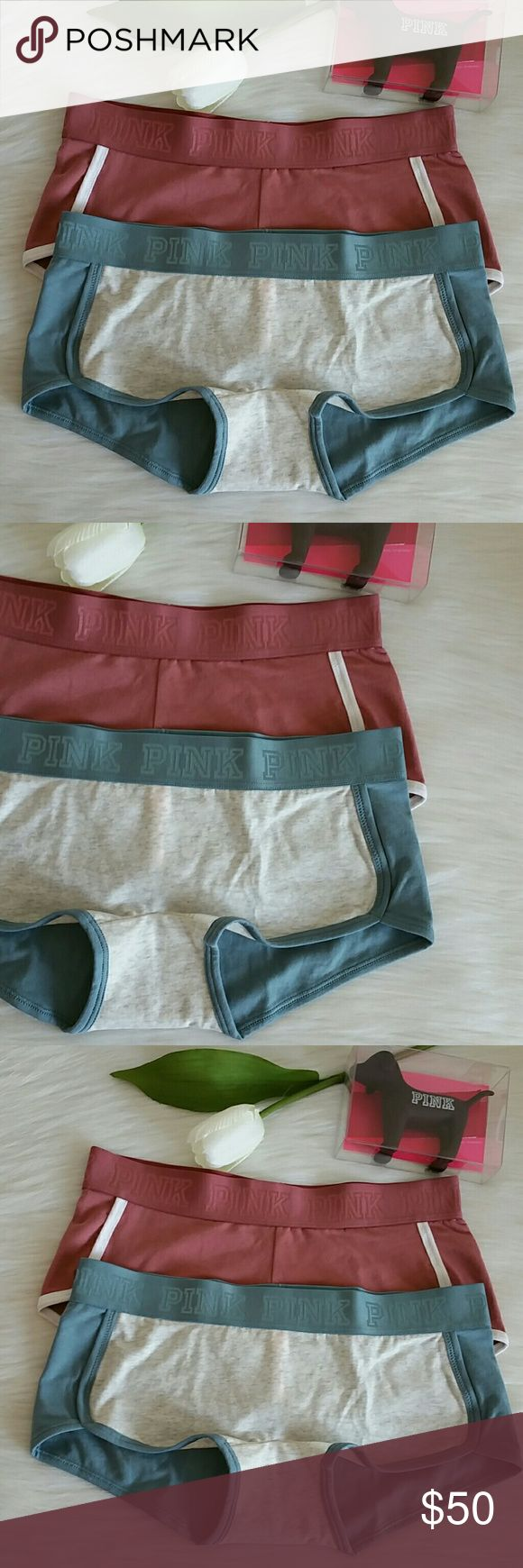 2 Nwt Pink Vs logo boyshort size M. Brand new never worn pink victoria's secret logo boyshort size M   Smoke and pet free home.  Fast shipping + extra gift.  I don't trade love.  Available PINK Victoria's Secret Intimates & Sleepwear Panties