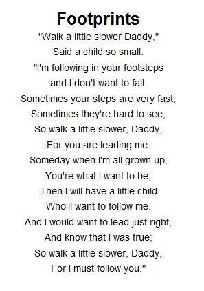 Father's day footprint poem....got me a little choked up I must admit.