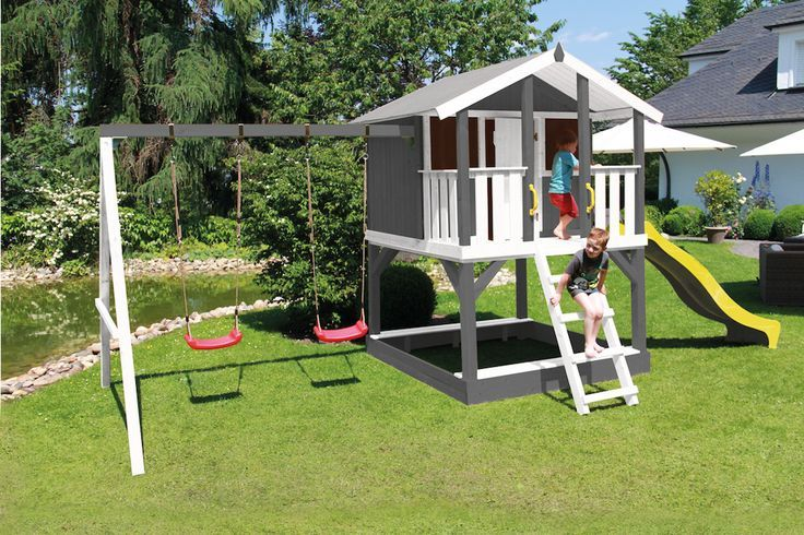 Stelzenhaus Tobi In Grau Mit Rutsche Schaukel Und Sandkasten Grau Mit Rutsche Sandkasten Schaukel Stelzenhau House On Stilts Play Houses Backyard Play