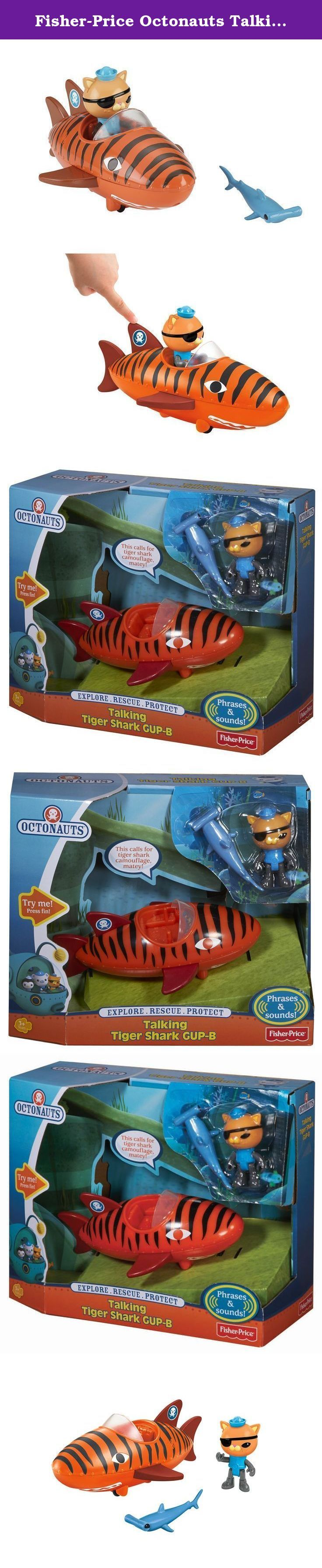 """Fisher-Price Octonauts Talking Tiger Shark Gup-B. With its sleek tiger shark design and turbo speed, the Gap-B is Kwazii' s ideal racing vehicle! Press down on the Gup's fin to activate action sounds and phrases from Kwazii and Barnacles! Includes Kwazii and a creature to rescue! Requires 3 """"AG13"""" (LR44) Button Cell batteries. Not intended for water play."""