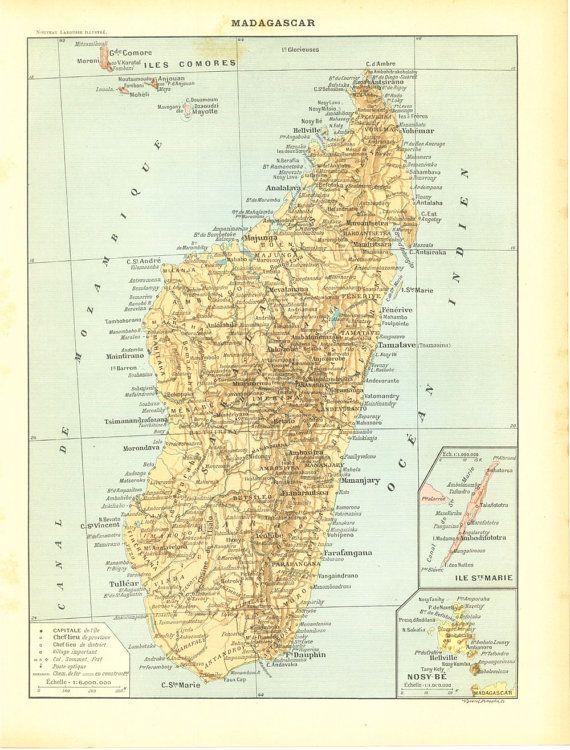 Vintage Map of Madagascar 1910s Indian Ocean by CarambasVintage, $16.00