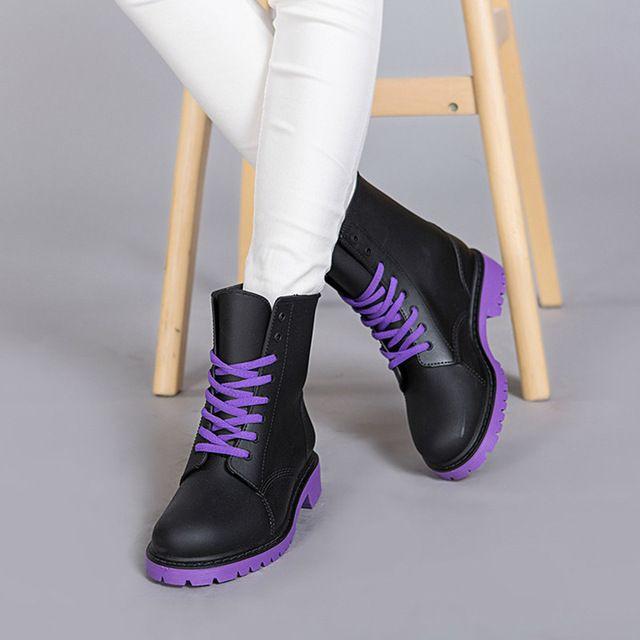 Martin Botas de Lluvia de Las Mujeres Tamaño 36-41 Impermeables Welly Arranque Verde PVC Zapatos de Agua de Las Mujeres Ata Para Arriba el Tobillo Botas Envío Gratis DX6