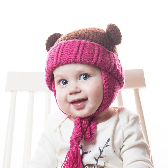 Brown Bear Baby Hat with Ears Pink Crochet Animal by OneHatStore