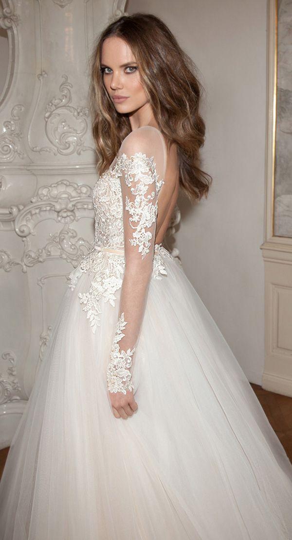 lace long sleeves illusion wedding dresses by berta bridal fall 2015