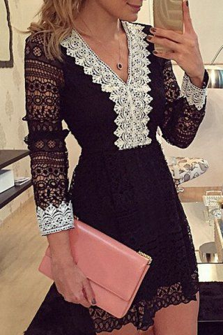 Sexy V-Neck Color Spliced Long Sleeve Lace Dress For Women