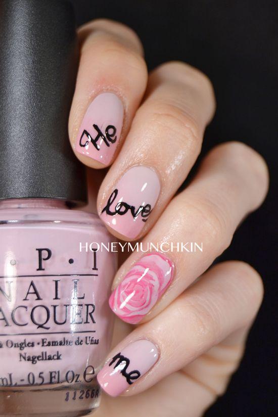 Nail art: He loves me, he loves me not, he loves me... by honeymunchkin.com
